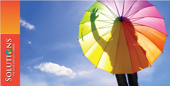 Image: Woman behind a colorful umbrella on a sunny day Text: Solutions for your Life and Career
